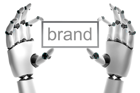 Robotic hand with brand place on white background