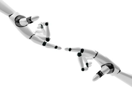 mano robotica: Mano rob�tica con dedos en contacto sobre fondo blanco
