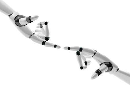Robotic hand with fingers in contact on white background