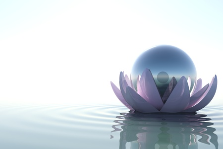 Zen flower loto with sphere in water on white background Banco de Imagens