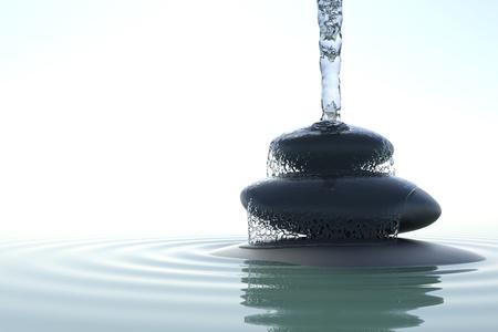 zen waterfall on the stones in water