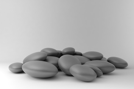 disordered: zen stones disordered on black and white background