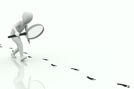 3d human follows some black footstep on a white background Standard-Bild