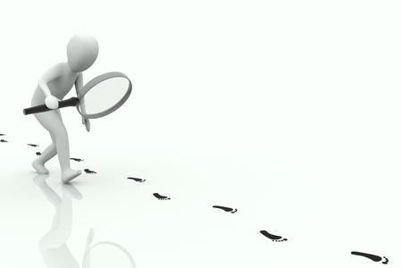 id: homme 3D suit une empreinte noir sur fond blanc
