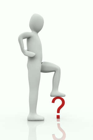 big man with the foot on a question mark on white background