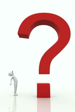 Small character watching big question mark on a white background Stock Photo - 8896113