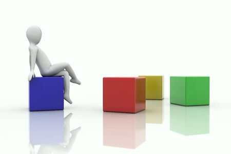 3d human sitting on a cube in front of sparse cubes  photo