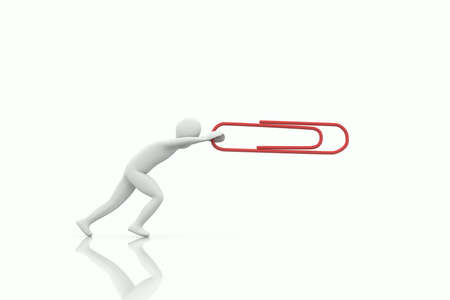 3d human push a big red paper clip on a white background Stock Photo - 9038427