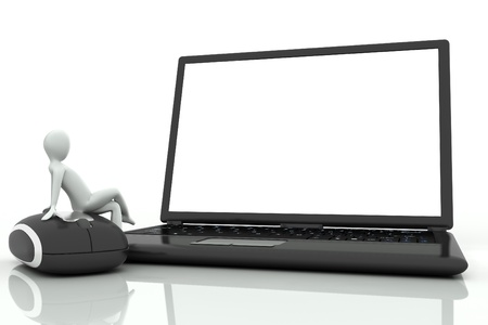 3d human sitting on a mouse in front of a laptop on a white background photo