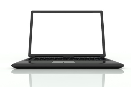 isolated black laptop closeup on white background in front view Stock Photo