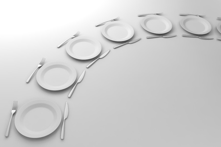 Fork, Knife and plate aligned on white background
