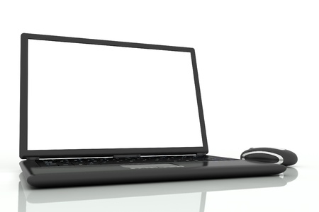 black laptop and mouse isolated on white background