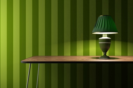 vintage lamp on a desk with green wallpaper on background photo