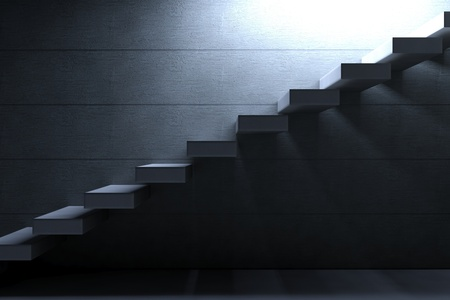 Cement Stairs highlighted by an opening on concrete background