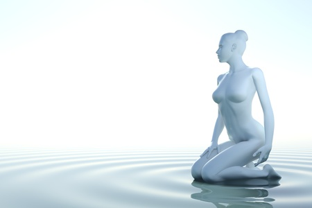 Zen woman in water with waves on white background