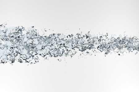 Clean blue water splashing on white background