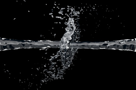 Two clean water jet collide on a black background photo