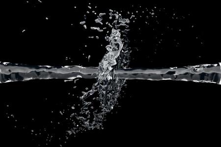 Zwei sauberes Wasser-Jet kollidieren auf schwarzem Hintergrund Standard-Bild - 9686386