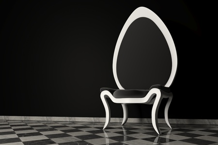 Original 3D black and white armchair on a marble floor and a black wall behind