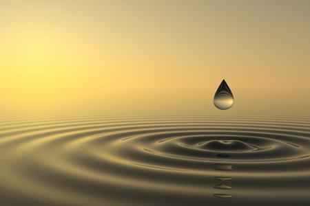 Zen-Drop fällt ins Wasser mit Sonnenuntergang auf Hintergrund Standard-Bild - 10060695