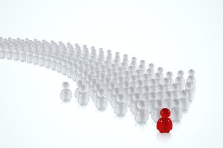 seguito: Bianco 3d esseri umani seguono un capo rosso su sfondo bianco Archivio Fotografico