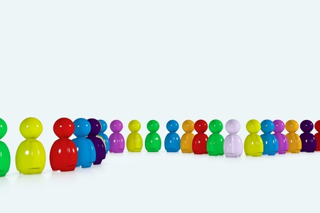 A multicolour row formed by 3d stylized humans on white background