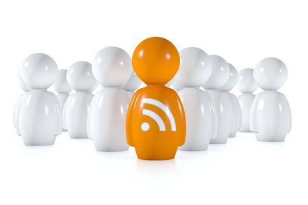 feed readers follow an orange 3d human with rss logo on a white background photo
