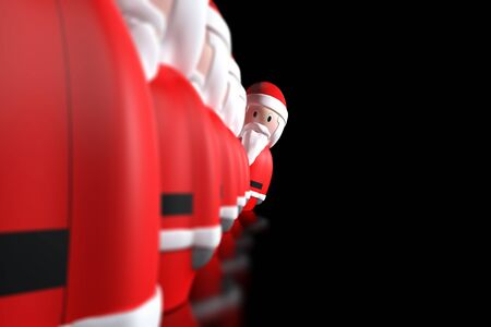 displaced: A Santa Claus aligned in a row is displaced to watch ahead on a black background