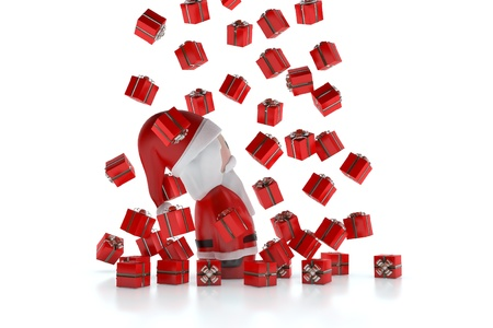 A 3d Santa Claus Santa Claus 3d under a rain of gifts on a white background Stock Photo - 11560637