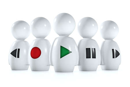 pause button: 3d humans with stereo symbols isolatend on a white background