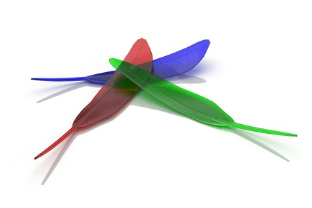 Red, Green and Blue quill on white background photo