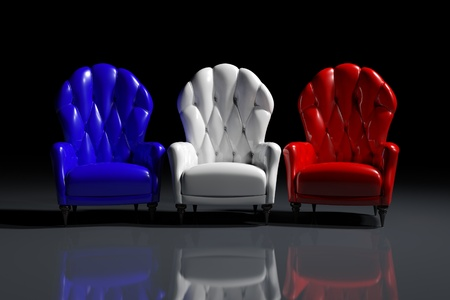 Vintage French color armchairs on black background Stock Photo - 11863834