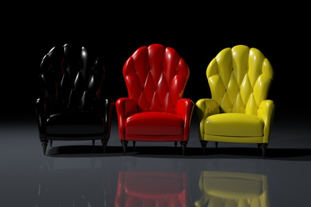 Vintage German color armchairs on black background Stock Photo - 11863833