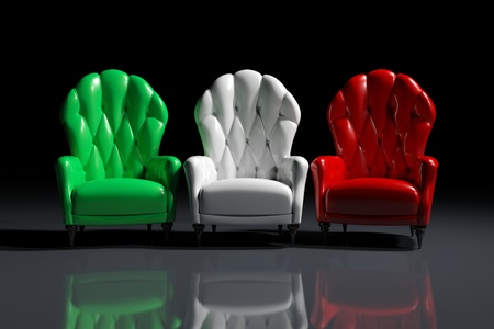 italian politics: Vintage italian color armchairs on black background