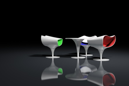 White futuristic design armchairs on black background photo