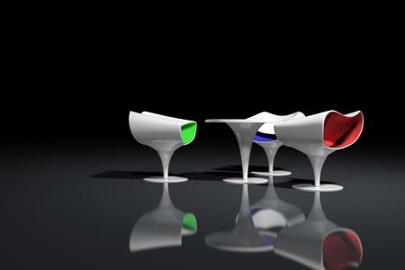 White futuristic design armchairs on black background