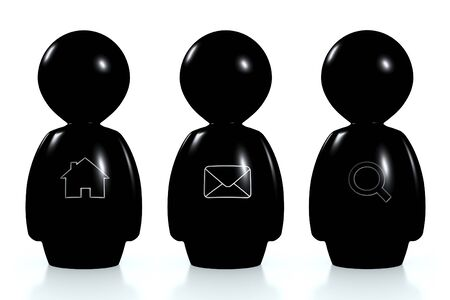 3d black humans with web symbols isolated on a white background