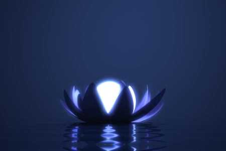 Zen flower lotus with glowing sphere in the middle