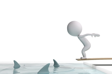 3d human jumps in a swimming pool with sharks on white background
