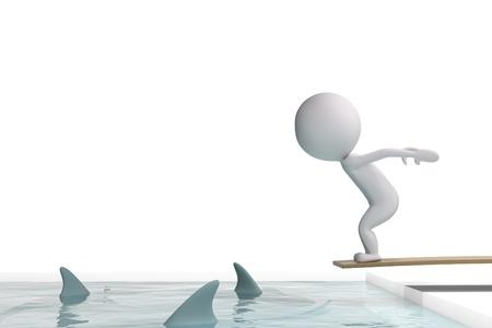 3d menschlichen Sprünge in einem Schwimmbad mit Haien auf weißem Hintergrund Standard-Bild - 13088786