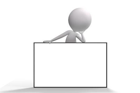 3d human: 3d humanos en la parte superior de un gran cartel publicitario en el fondo blanco