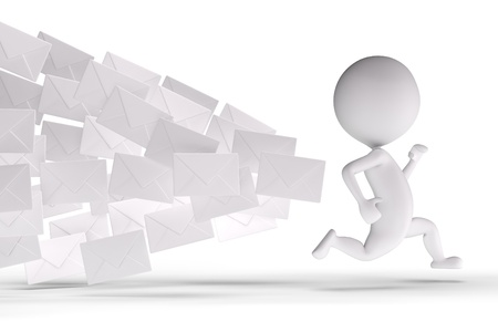 3d human chased by a lot of letters on a white background