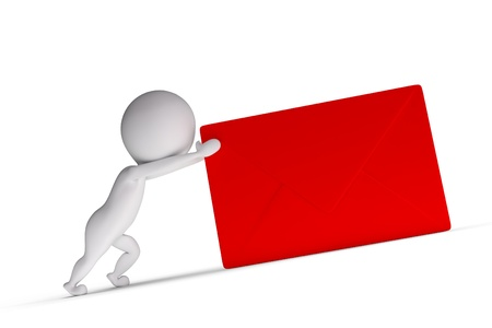 3d human pushes red letter on white background photo