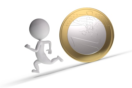 3d human chased by a coin on white background photo