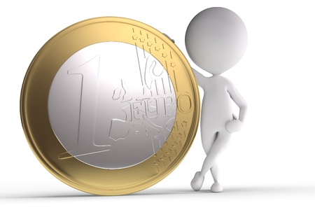 3d human with big coin on white background Standard-Bild