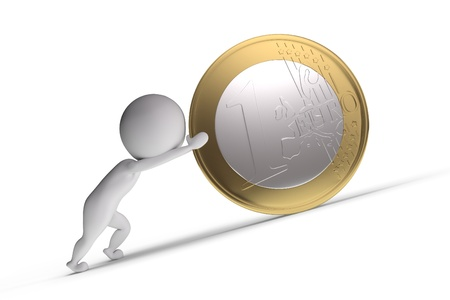 3d human pushes a big coin on white background