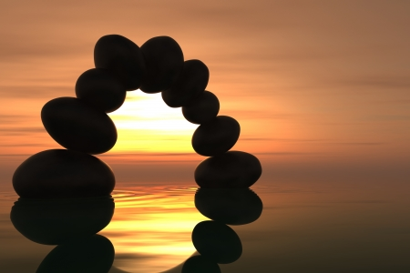 meditation stones: Zen stone arch into the water with sunset on the background