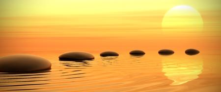 Zen pad van stenen in breedbeeld op zonsondergang achtergrond Stockfoto