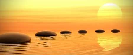 'peace of mind': Zen path of stones in widescreen on sunset background
