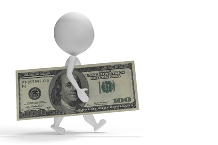 3d small man walking with 100 dollars on white background Standard-Bild